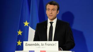 Emmanuel Macron no seu primeiro discurso após a vitória nas presidenciais francesas.