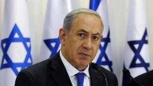 بنیامین نتانیاهو- نخست وزیر اسرائیل، در جلسه هفتگی کابینه این کشور. ١٠ نوامبر ٢٠١٣