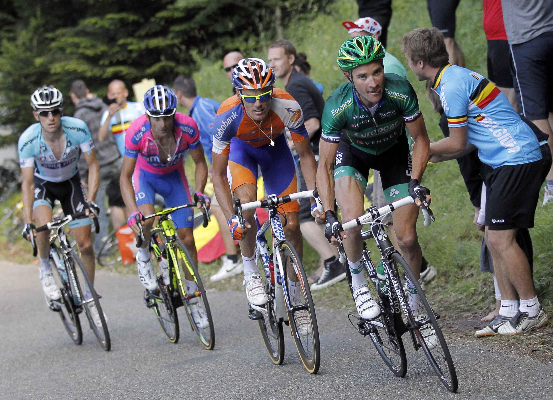 Michele Sacrponi (3e position) dans l'échappée lors de l'étape entre Macon et  Bellegarde-sur-Valserine, le 11 juillet 2012.