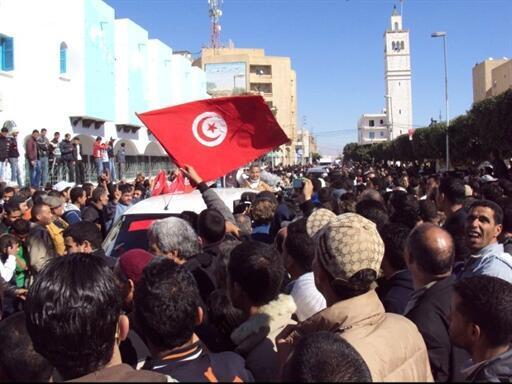 Des habitants de Sidi Bouzid lors de la révolution tunisienne