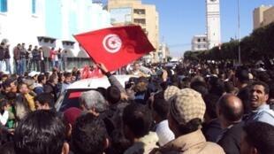 Dân làng Sidi Bouzid, Tunisia tưởng niệm ngày bùng nổ phong trào phản kháng dẫn đến Mùa Xuân Ả rập (AFP)