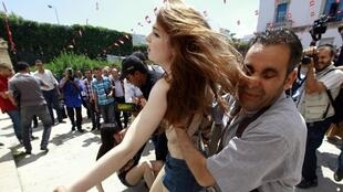 Femen activists were arrested in Tunis on 29 May for their topless protest