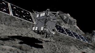 Reprodução da sonda Rosetta antes de se chocar contra o cometa Churi, nesta sexta-feira (30).