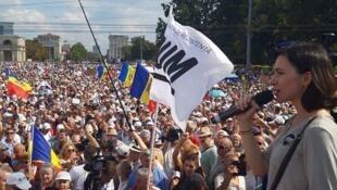 Лидер партии PAS («Действие исолидарность») Майя Санду на акции в воскресенье, 26 августа
