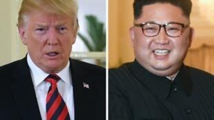 در سمت راست کیم جونگ اون رهبر کره شمالی و در سمت چپ دونالد ترامپ رئیس جمهوری آمریکا