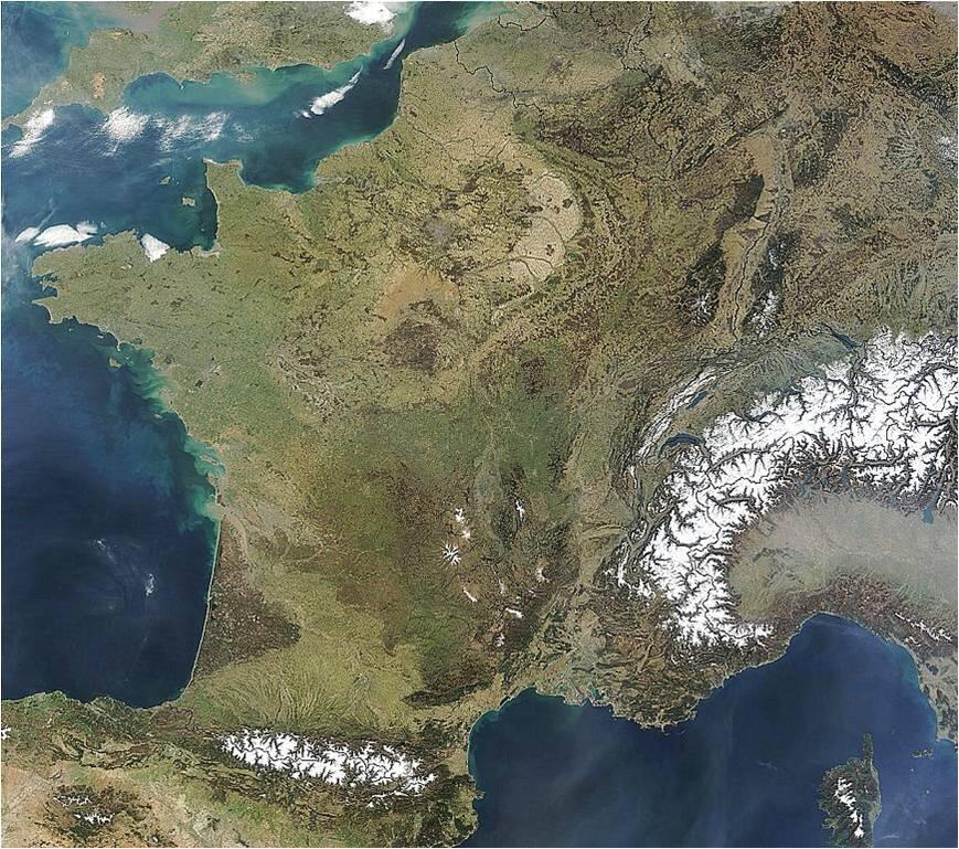 En esta foto de satélite se puede ver el extenso bosque de Las Landas, en forma de triángulo, cerca de los Pirineos, donde crecen estos pinos, los pinus pinaster. Es el bosque artificial más grande en Europa.