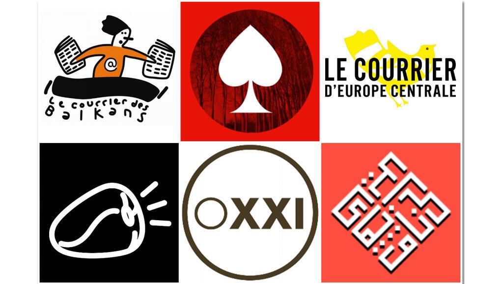 """Collage """"Courrier des Balkans"""", """"La Dame de Pique"""", """"Le courrier d'Europe centrale"""", """"Orient XXI"""", """"Lettres persanes""""."""