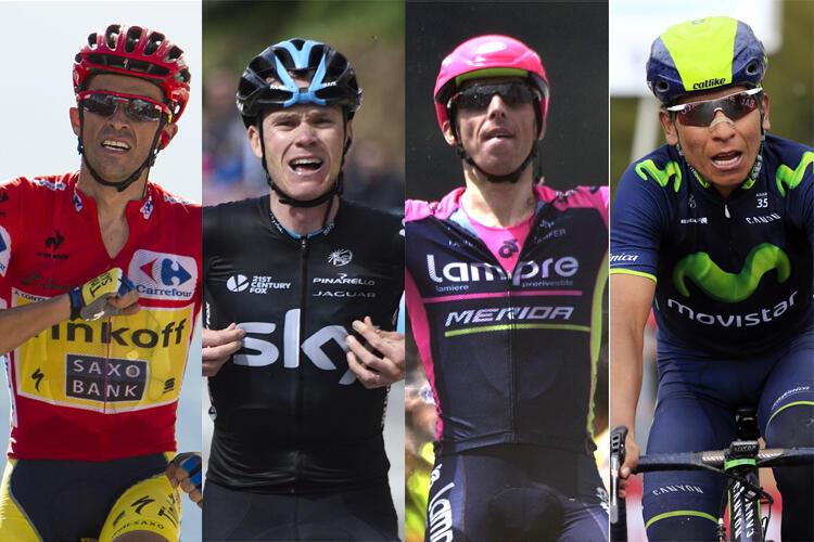 L'Espagnol Alberto Contador, le Britannique Christopher Froome, l'Italien Vincenzo Nibali et le Colombien Nairo Quintana (de gauche à droite).
