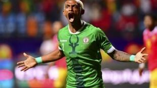 Charles Andriamahitsinoro célèbre son but face à la Guinée, le 22 juin 2019.