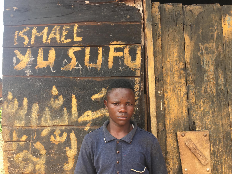 Ismael Kambale Mate, outside his home in Bingo, North Kivu, DRC