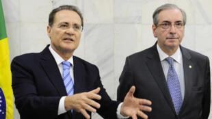 Renan Calheiros e Eduardo Cunha (d) representaram o Brasil no fórum parlamentar dos países dos Brics em Moscou.