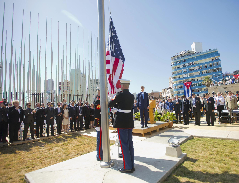 Depuis le 14 août 2015, le drapeau américain flotte de nouveau devant l'ambassade américaine à Cuba.