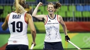 Helen Richardson-Walsh of Britain celebrates  after scoring her team's second goal during quaterfinal match versus Spain at the Rio Olympics.