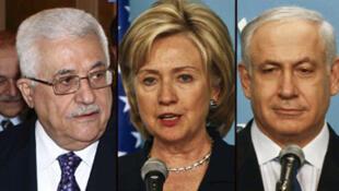 Hillary Clinton (c) a rencontré, samedi 31 octobre, Mahmoud Abbas (g) et Benyamin Netanyahu dans l'espoir de relancer le processus de paix israélo-palestinien.