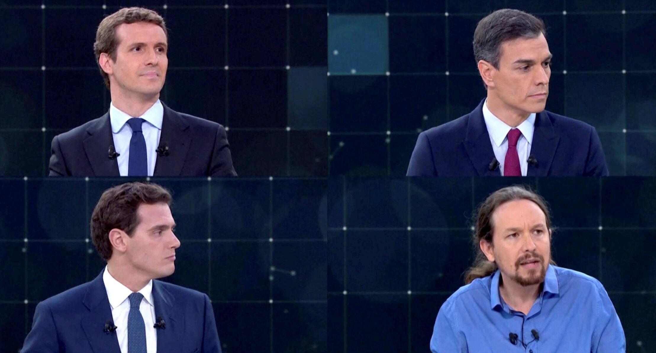 Pablo Casado, Pedro Sánchez, Albert Rivera e Pablo Iglesias se enfrentam em primeiro debate pela televisão nesta segunda-feira (22).