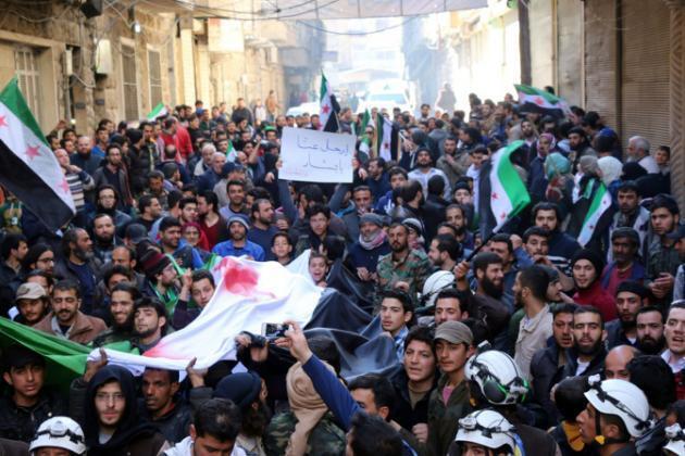 Maandamano dhidi ya serikali ya Syria mjini Aleppo, Syria, Machi 7, 2016.