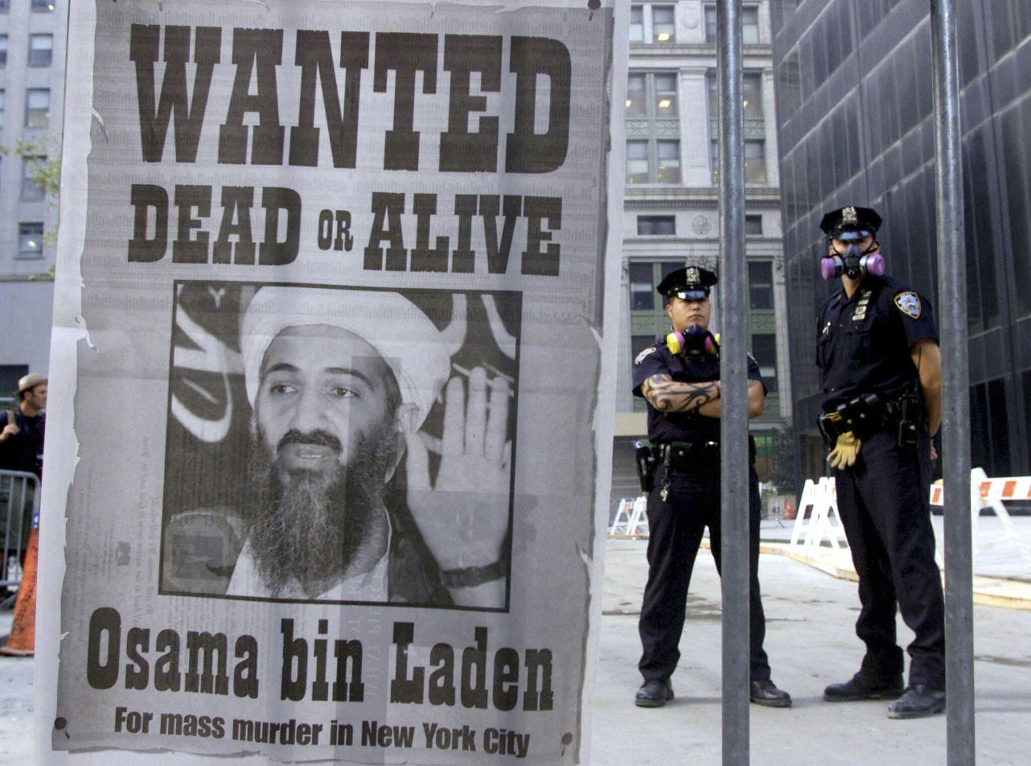 Ben Laden trên một áp-phích truy nã tại New Yorkork, ngay ngày 18/9/2011.
