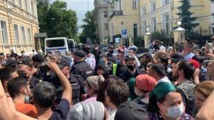 Devant l'ambassade du Tadjikistan à Moscou, le 8 juillet 2020.