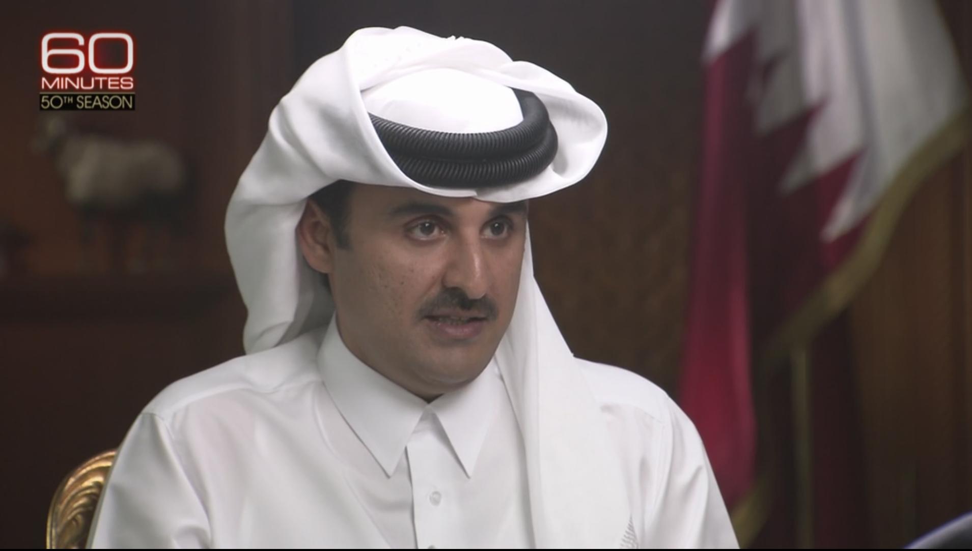 L'émir du Qatar, cheikh Tamim ben Hamad Al-Thani, sur CBS dimanche 30 octobre 2017.