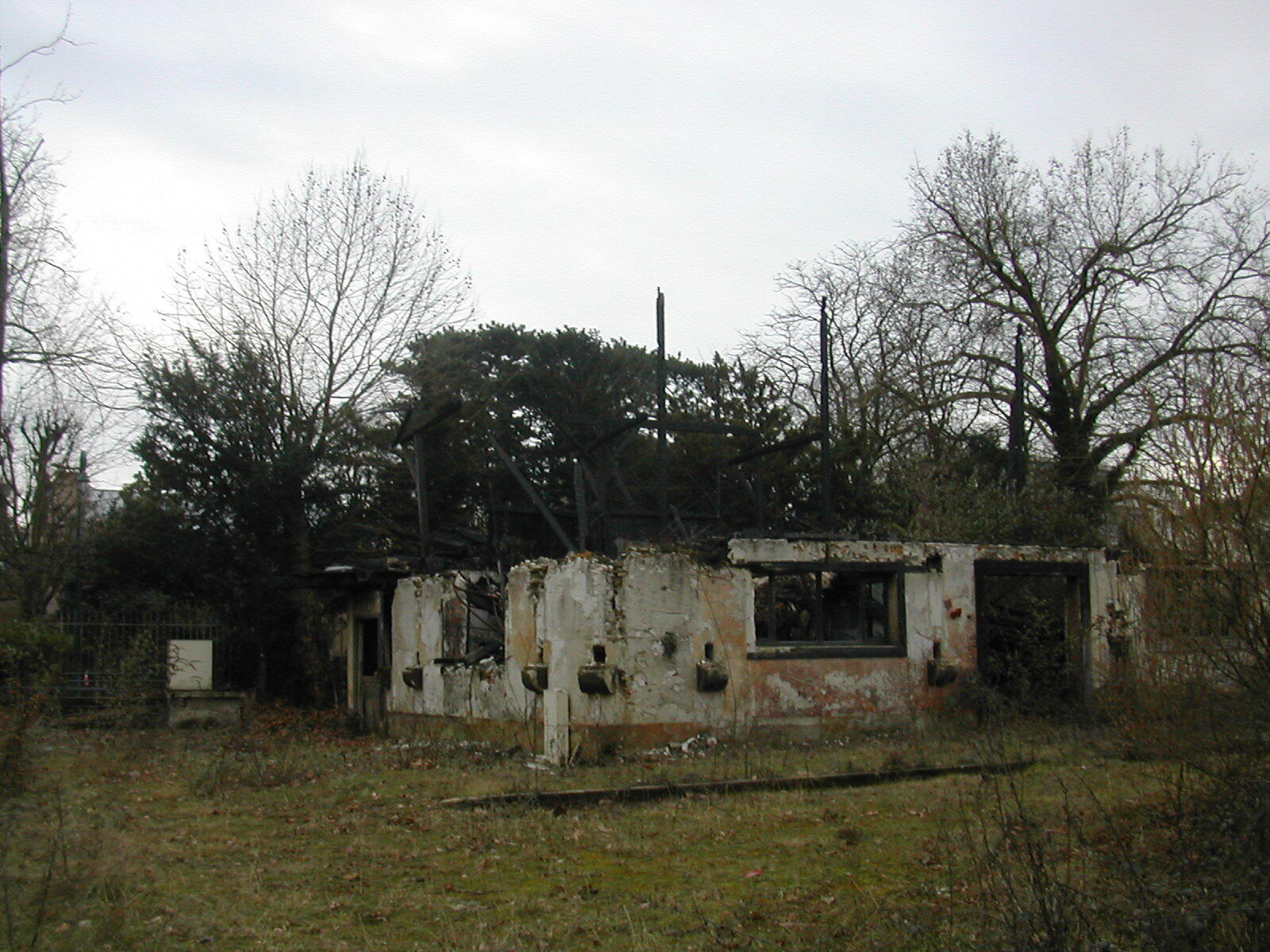 The ruins of the Congo pavilion after it was consumed in a fire