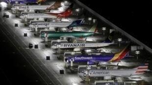 Des Boeing 737 MAX cloués aux sol à Seattle aux États-Unis en octobre 2019.