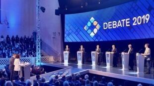 O palco do primeiro dos dois debates previstos nas eleições presidenciais na Argentina.