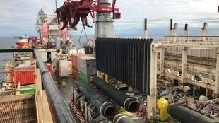 Tàu Solitaire thuộc tập đoàn Allseas đặt đường ống dẫn khí đốt trong dự án Nord Stream 2 ở biển Baltic. Ảnh chụp ngày 13/09/2019