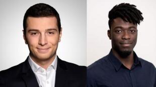 Jordan Bardella e Landry Ngang (d) estão entre os mais jovens candidatos para as eleições europeias