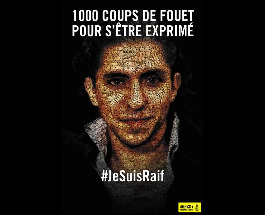 Affiche de soutien d'Amnesty international à Raïf Badawi.