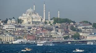 View of the Süleymaniye mosque in Istanbul from the Sea of Marmara