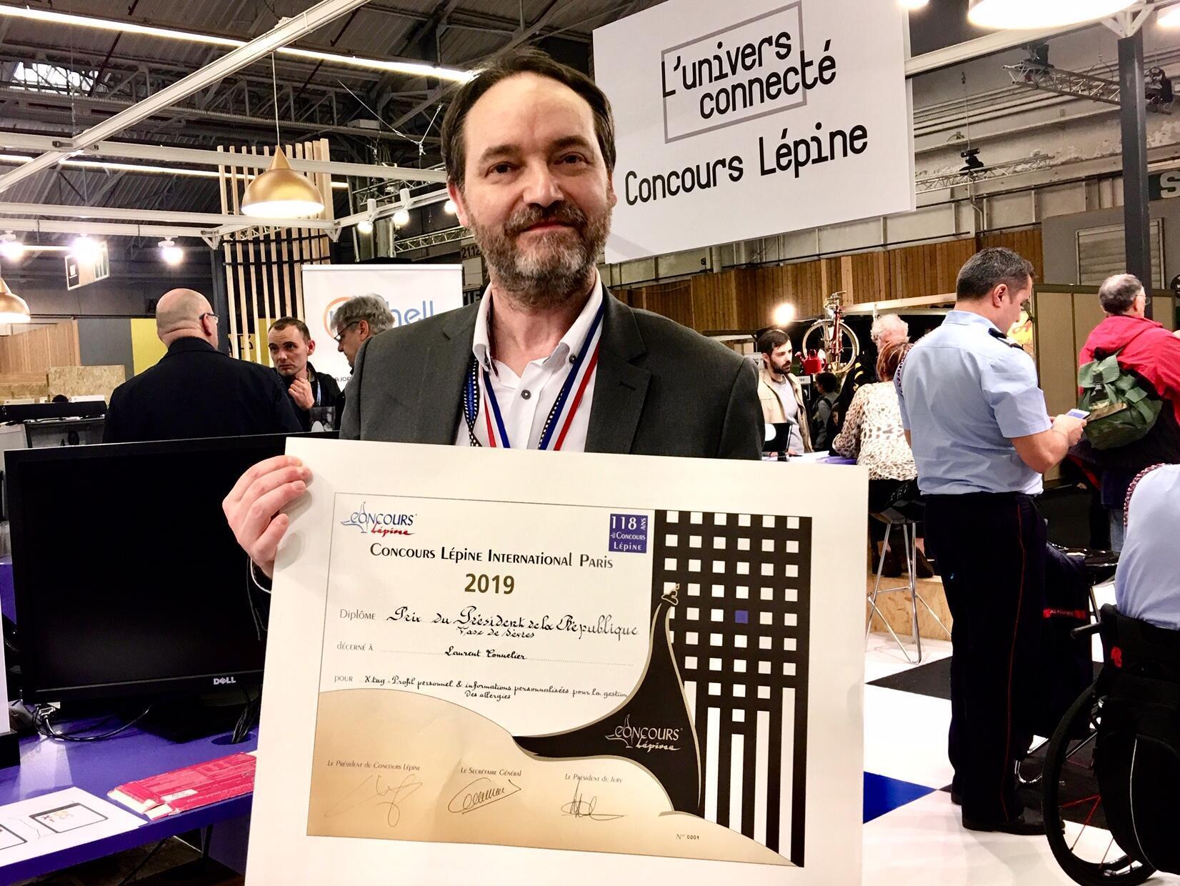 Лоран Тоннелье, создатель приложения для аллергиков «xTag» на конкурсе Лепин. Париж, 8 мая 2019