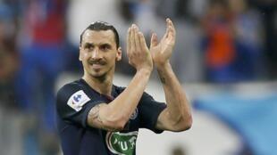 Zlatan Ibrahimovic a inscrit un doublé pour son dernier match avec le PSG, en finale de la Coupe de France, le 21 mai 2016.