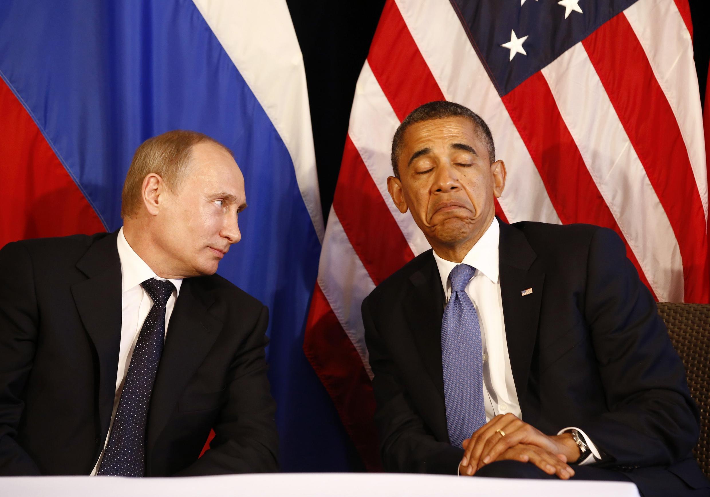 Владимир Путин и Барак Обама в Мексике в 2012 г.
