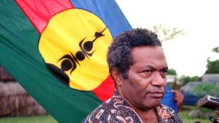 Jean-Marie Tjibaou, chef du Front de libération nationale socialiste kanak (FNLKS), indépendantiste calédonien le 24 juillet 1988.