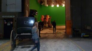 Studio en plein tournage. Bry-sur-Marne.