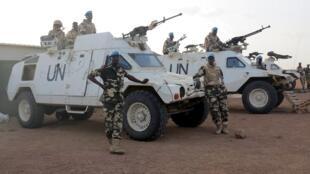 Les casques bleus de la Munusma, la Mission des Nations unies au Mali, à Kidal, le 22 juillet 2015.
