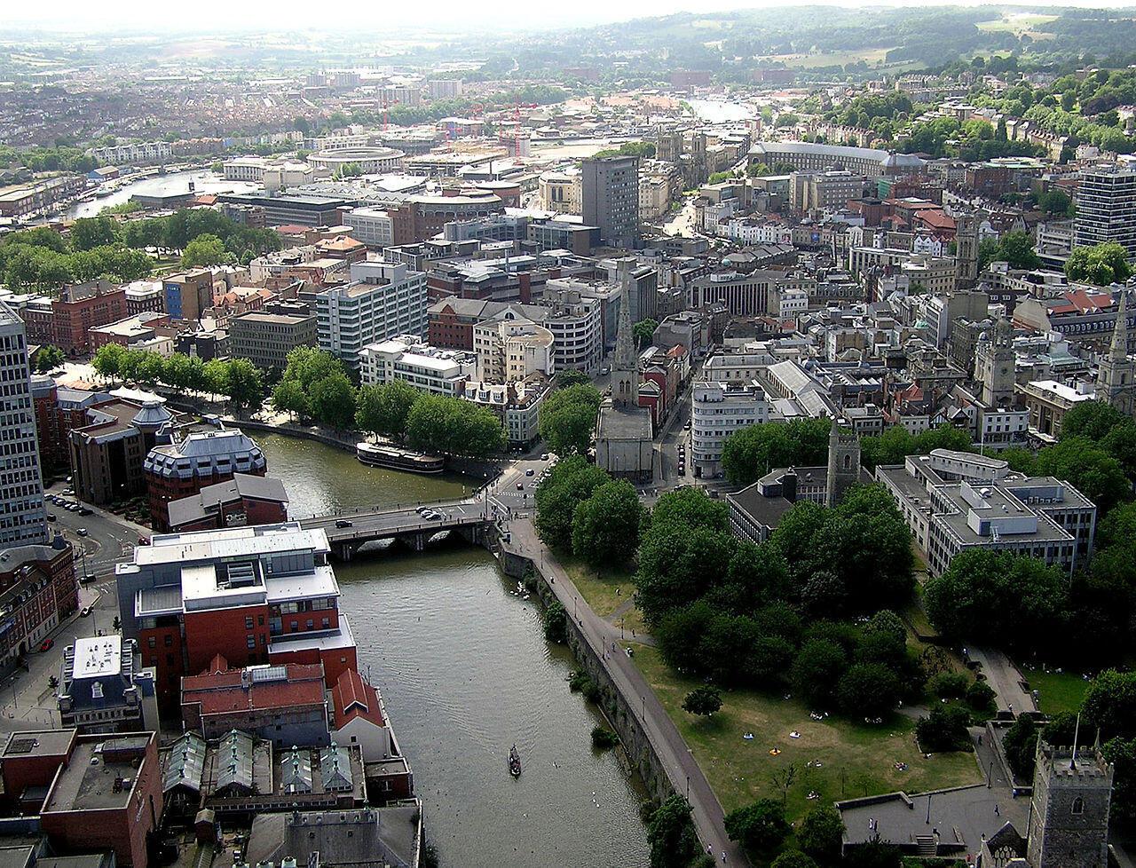 The River Avon flows through the centre of Bristol.