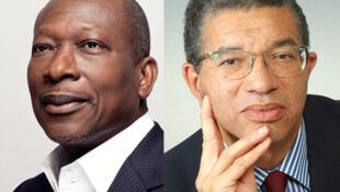 Patrice Talon (G) et Lionel Zinsou (D) sont arrivés en tête au 1er tour de l'élection présidentielle au Bénin, le 6 mars 2016.