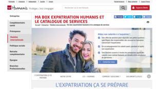 Capture d'écran du site humanis.com qui propose le service «Ma BOX Expatriation».