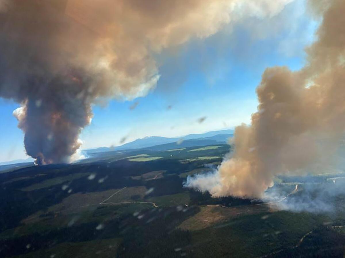 Une vue aérienne des feux, en Colombie-Britannique, le 1er juillet 2021.
