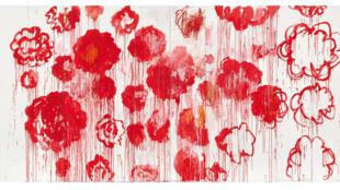 Cy Twombly : «Blooming» (détail), 2001-2008. Acrylique, crayon à la cire sur 10 panneaux de bois, 250 x 500 cm. Collection particulière. Courtesy Archives Fondazione Nicola Del Roscio.