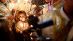 Lors de la messe donnée lors des célébrations de Pâques, le 1er avril dans la ville de Gaza.
