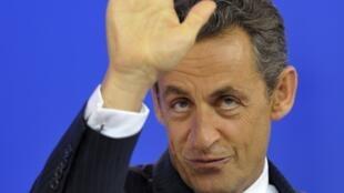 Nicolas Sarkozy, após cúpula da zona do euro, em Bruxelas, nesta quinta-feira.