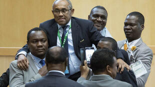 Le Malgache Ahmad Ahmad, élu président de la Confédération africaine de Football, le 16 mars 2017 à Addis-Abeba.