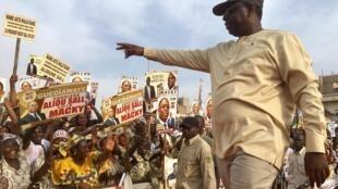 Le président sortant Macky Sall, lors de son passage à Guédiawaye, le 20 février 2019.