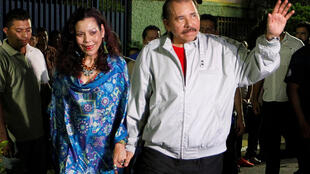 Daniel Ortega y su esposa Rosario Murillo tras sufragar el 6 de noviembre.