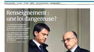 Capa do jornal Le Monde desta segunda-feira, 13.