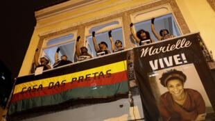 Manifestation d'indignation après la mort de Marielle Franco. Rio de Janeiro, le 22 mars 2018.