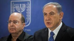 Benjamin Netanyahu junto al ministro de defensa israelí Moshe Yaalon, el pasado 31 de julio