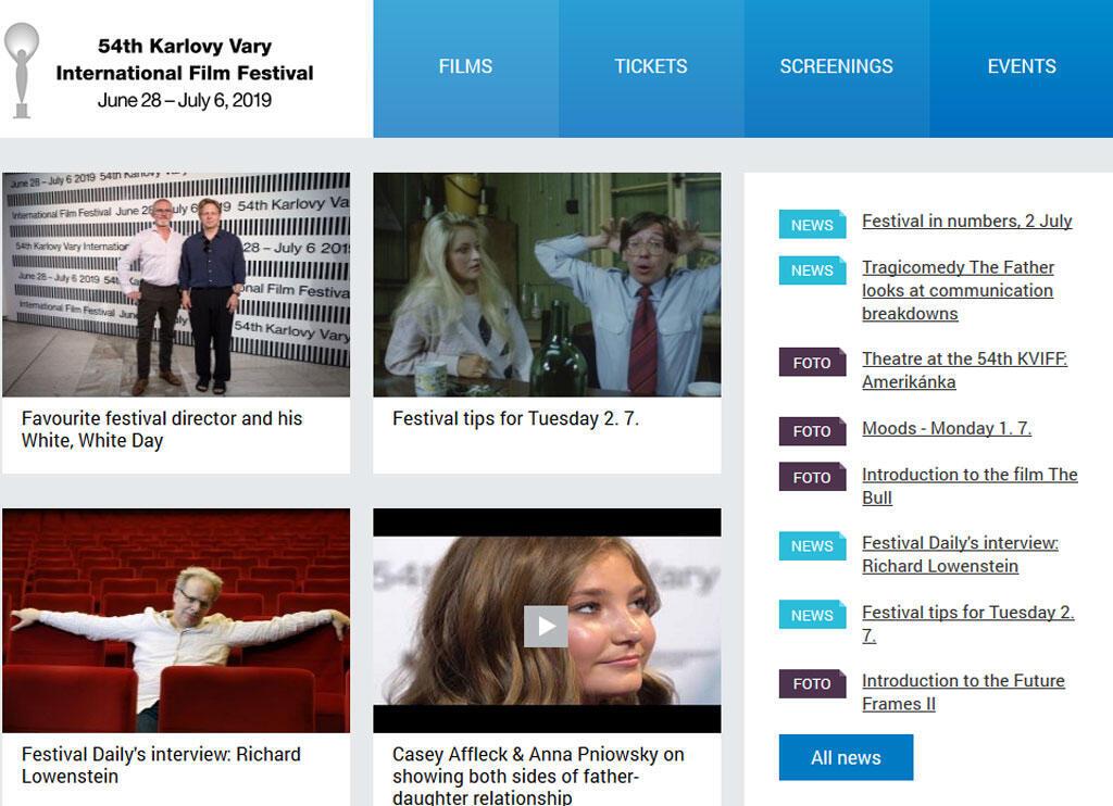 Page d'accueil du site internet du Festival international du film de Karlovy Vary (capture d'écran).